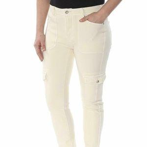 Beige Denim Raw Hem Utility Skinny Jeans